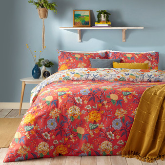 furn Azalea Floral Duvet Cover Set - Red