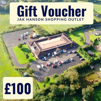 'In store' JAK Hanson Shopping Outlet, Wrightington Gift Voucher - £100