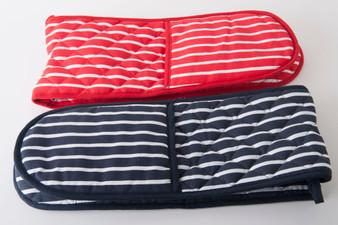 Butcher's Stripe Doube Oven Glove - Red / Navy