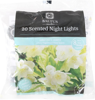 Baltus Candles Pack of 20 Tealight Night Light Candles With Sweet Pea & Jasmine Fragrance