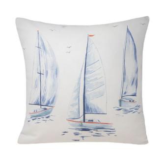 Nautical Watercolour Blue Boat Cushion With Pinstripe Reverse (45x45cm) -060326