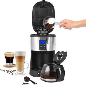 Salter Caffé Bean to Jug Coffee Maker | Integrated Grinder | 24-Hour Timer | 750 ml Glass Carafe