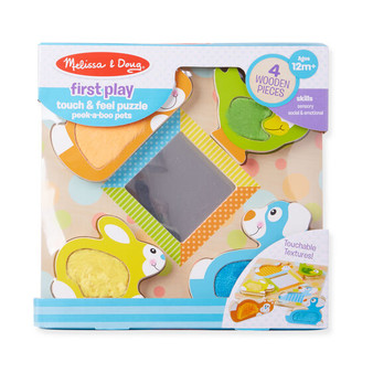 First Play Wooden Touch and Feel Puzzle Peek-a-Boo Pets With Mirror