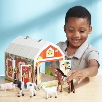 Wooden Latches Barn Play Set with Animals