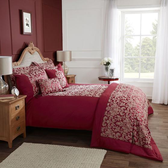 Gosford Red Damask Jacquard Luxury Duvet Cover