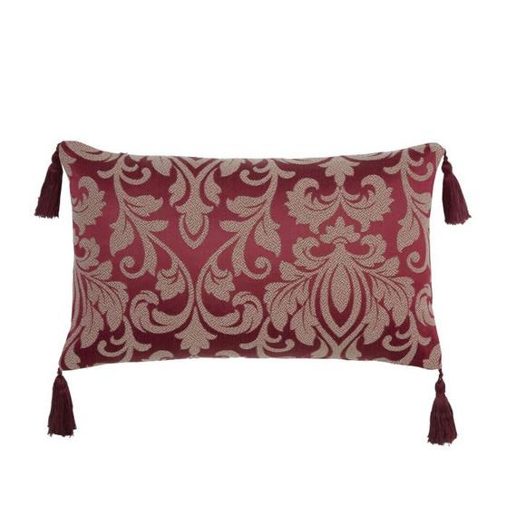 Gosford Red Damask Jacquard Luxury Filled Boudoir Cushion - 50cm x 30cm