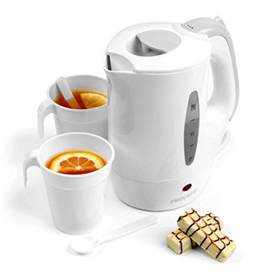 Progress EK3413P Travel Kettle with Two Cups and Two Spoons, 650 W, 500 ml, White