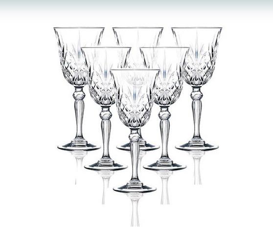 Set of 6 RCR Melodia Crystal Wine Glasses