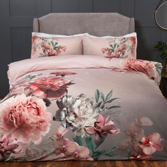 Julian Charles Aria Floral Print Velvet Touch Duvet Set