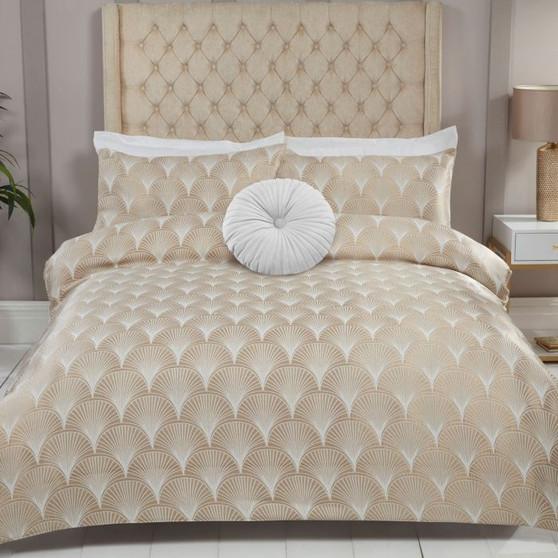 Julian Charles Venetia Gold Fan Luxury Jacquard Duvet Set