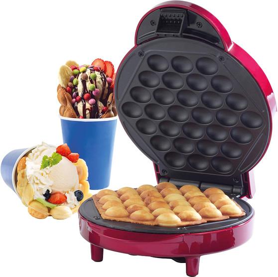 Giles & Posner 800-1000W Electric Bubble Waffle Maker Machine including 10 Serving Cones (EK2551G)