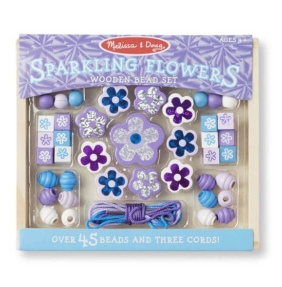 'Make your own' Sparkling Flowers Wooden Bead Set