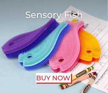 sensory fish, fish scrub, sensory toy, spike, autism