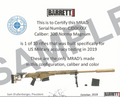 Barrett Certificate for MRAD ASR US SOCOM sniper rifle authentic