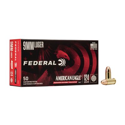 Federal Ammo: American Eagle 9mm 124 gr FMJ box of 50 rnds