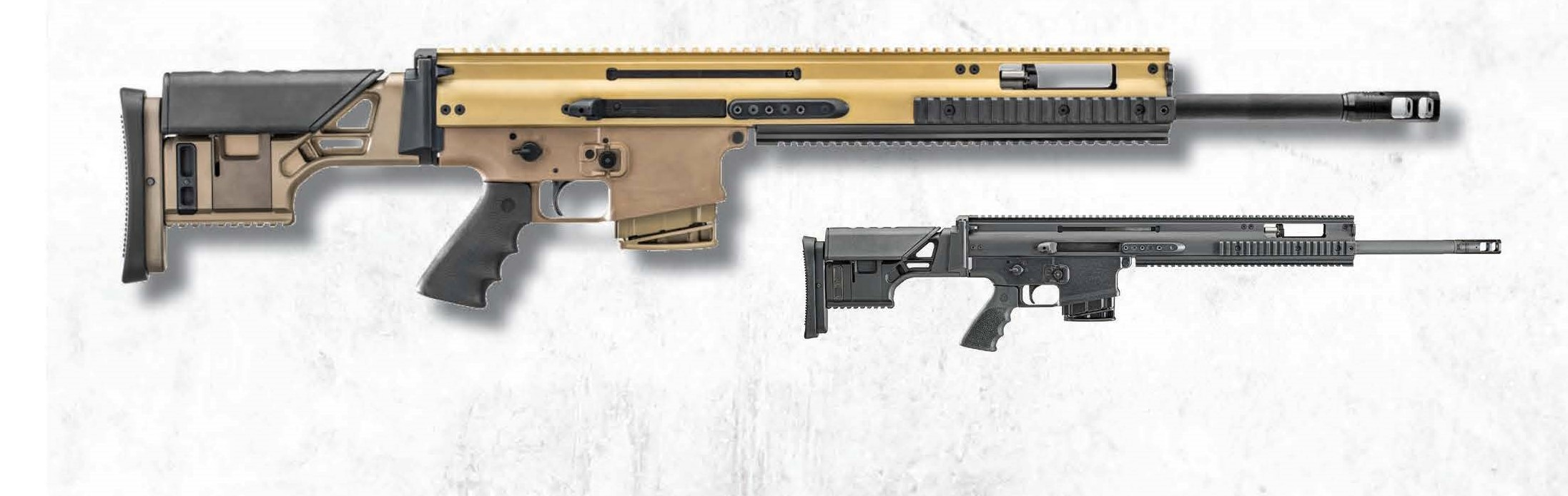 FN SCAR 20s 6.5 CM shown in black and FDE