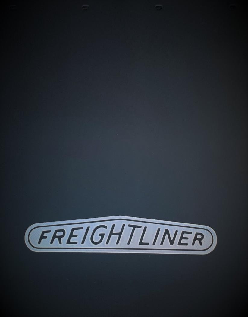 Silver Freightliner Logo Rubber Mud Flap w/ Splash Guard