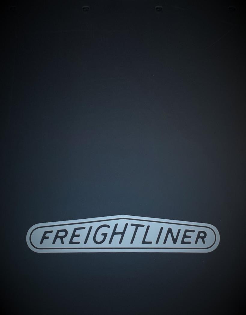 White Freightliner Logo Rubber Mud Flap w/ Splash Guard