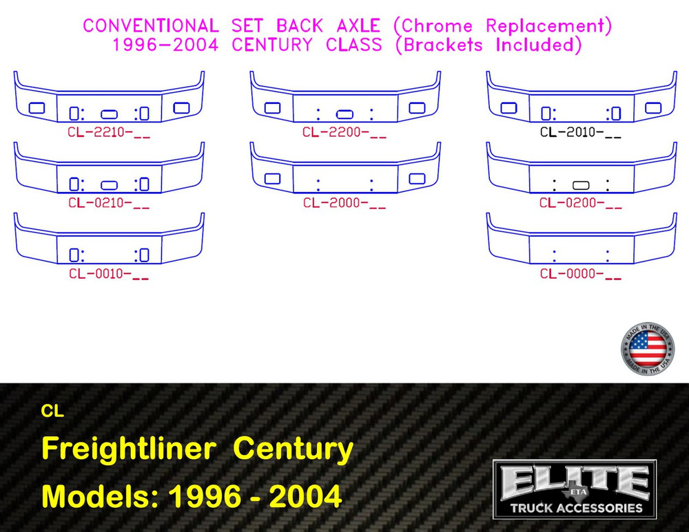 Freightliner Bumper Century Set Back Axle 1996 - 2004 (CL Bumper)