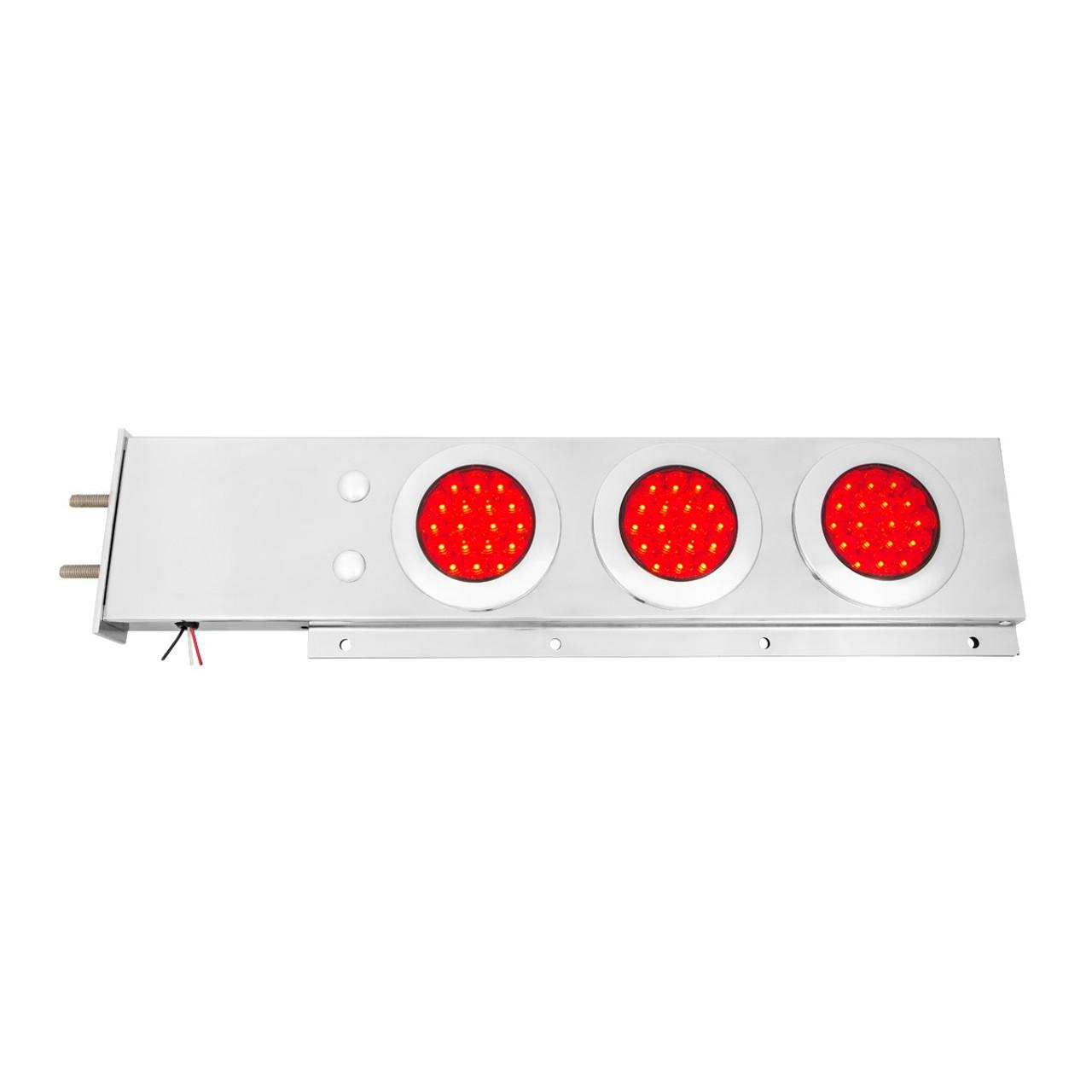 Rear Center Panel w// 4 x 4 LED Holes Stainless Peterbilt Freightliner Kenworth