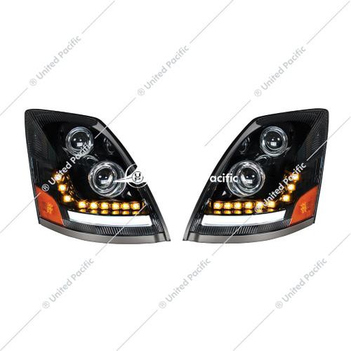 """""""Blackout"""" LED Headlight W/LED Turn Signal & Position Light For 2003-2017 Volvo VN/VNL"""