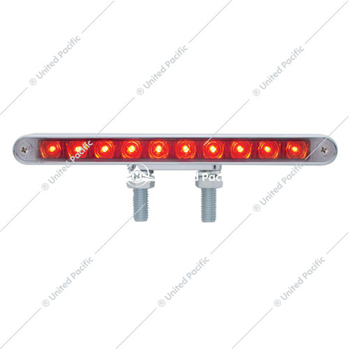 "10 LED 9"" Double Face Light Bar - Amber & Red LED/Clear Lens"
