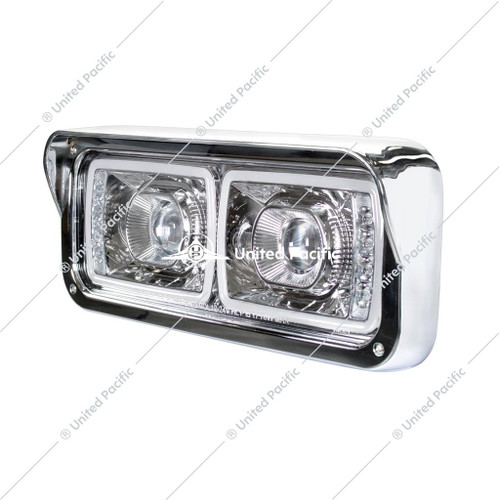 "High Power LED ""Chrome"" Projection Headlight W/ LED Turn Signal & Position Light Bar"
