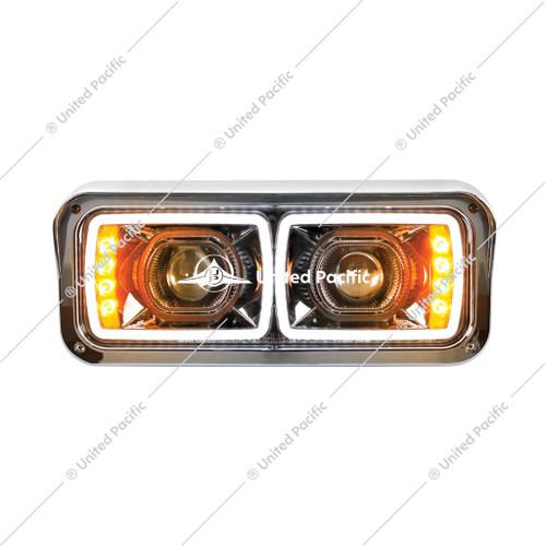"High Power LED ""Blackout"" Projection Headlight W/ LED Turn Signal & Position Light Bar"