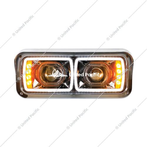 "High Power LED ""Blackout"" Projection Headlight W/ LED Turn Signal & Position Light Bar"