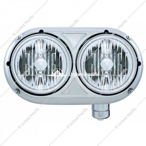 Peterbilt 359 Stainless Dual Headlight w/Crystal Halogen Bulb