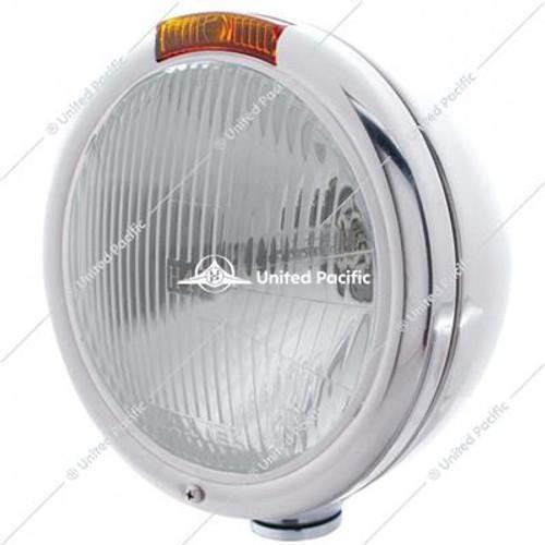 Stainless Steel Classic Headlight H4 Bulb & Turn Signal - Amber Lens