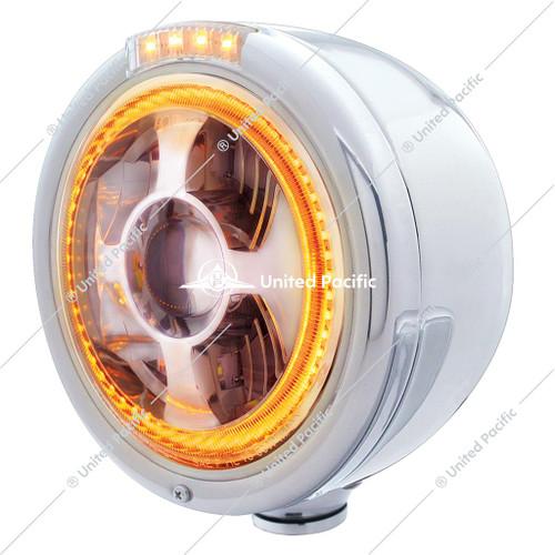 Stainless Steel Bullet Half Moon Headlight LED Projection Headlight & LED Turn Signal - Clear Lens