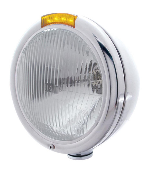 Stainless steel headlight assembly with LED turn signal