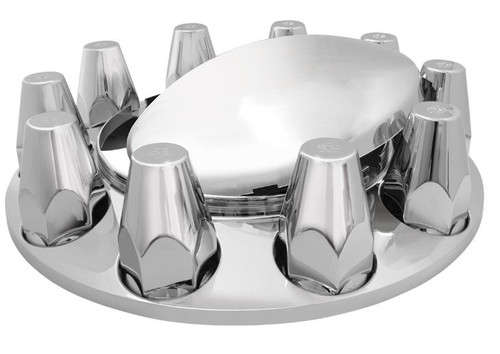 Chrome Plastic Abs Front Axle Covers With Removable Standard Hub Cap & Lug Nut Covers (40134)