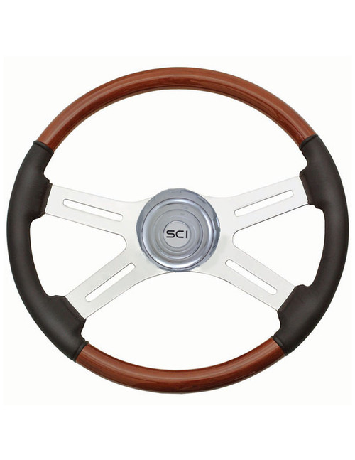 "18"" Classic Combo Steering Wheel - Wood/Leather (480-3003-77502)"