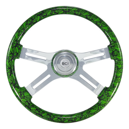 "8"" Classic Steering Wheel - Skulls/Green (537-3037-77502)"