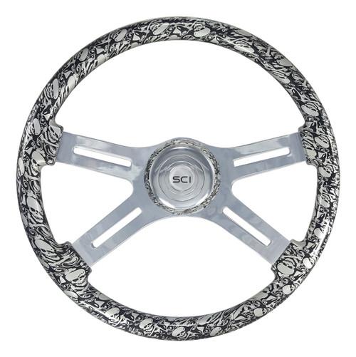 "18"" Classic Steering Wheel - Skulls/Silver (538-3038-77502)"
