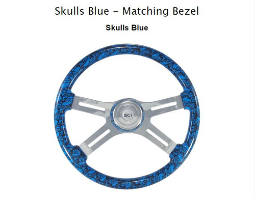 "18"" Classic Steering Wheel - Skulls/Blue (539-3039-77502)"