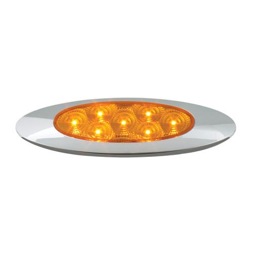 Oval Y2K LED Marker/Turn Light w/ Chrome Bezel - Amber