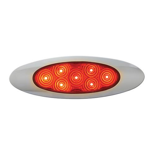 Oval Y2K LED Marker/Turn Light with Chrome Bezel - Red