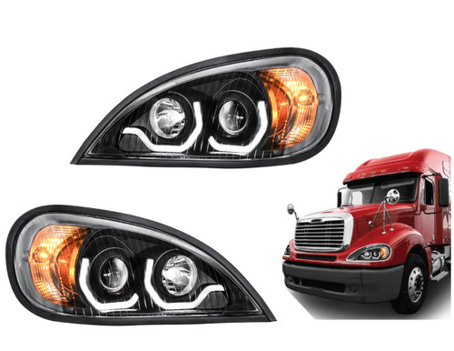 Black Columbia Projection Headlight w/LED Running Light