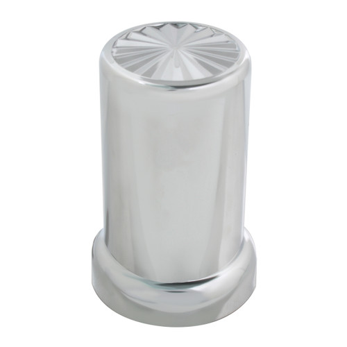 Pinwheel Chrome Plastic Lug Nut Cover with Flange