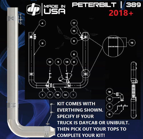 "Peterbilt 389 (2018) 7"" REDUCE TO 5"" Rod Pickett Exhaust Kit"
