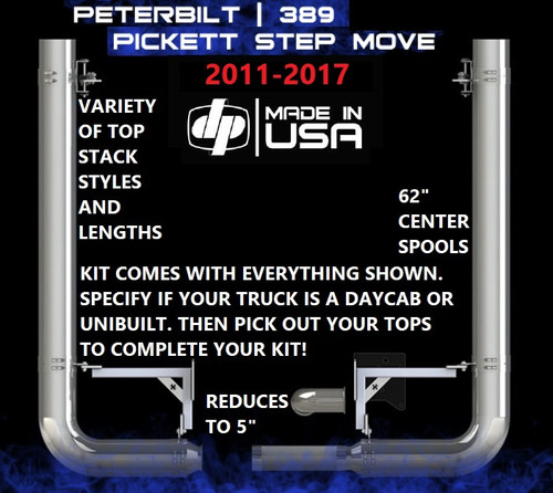 "Peterbilt 389 (2011-2017) 7"" REDUCE TO 5"" Rod Pickett Exhaust Kit"