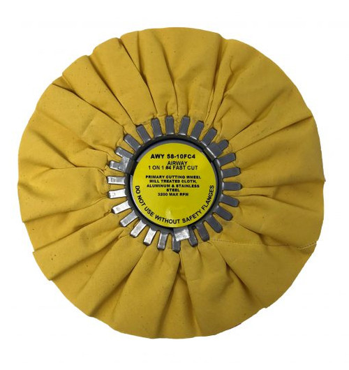 "10"" Yellow 1 on 14 Fast Cut Airway Buffing Wheel"