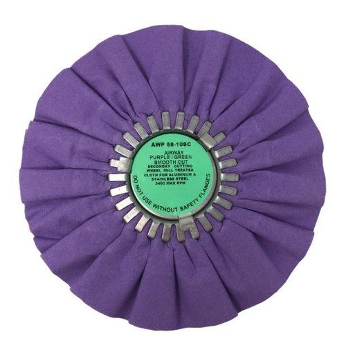 "10"" Airway Purple/Green Smooth Cut Buffing Wheel"