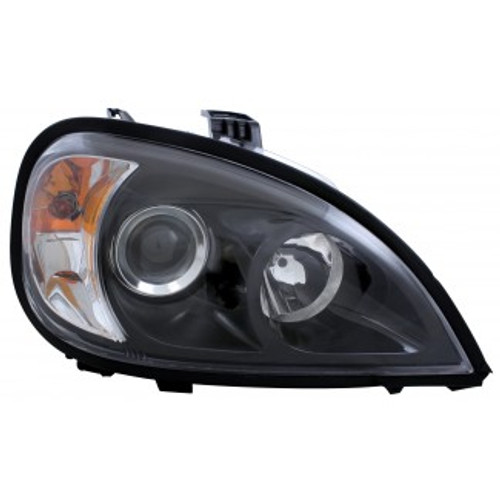 Ultra bright projection headlights. H7 55 watt driver and passenger side headlights with #1157 turn bulbs 27/8 watt. Fits Freightliner Columbia models 1996 and newer. 1 year manufacturer's warranty.  Sold as a pair.    (black)