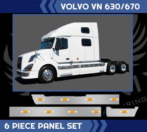 2004-2016 Volvo VNL 670-780 Sleeper Light Trim Stainless Steel