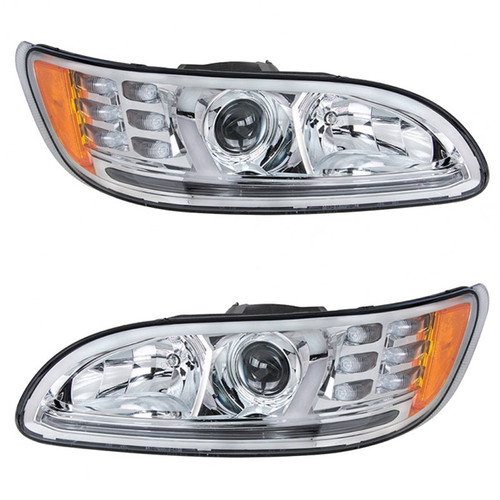 Peterbilt 386 & 387 LED Chrome Headlight (Pair)