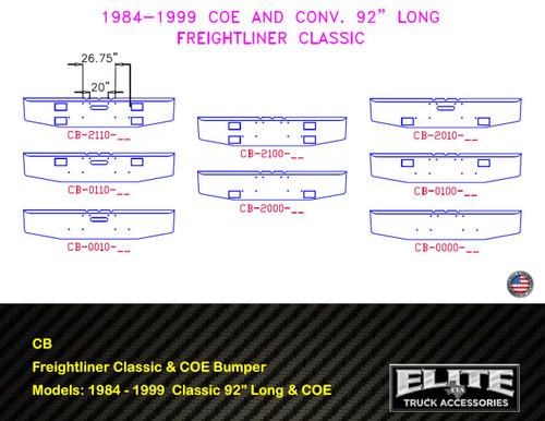 "Freightliner Bumper (84-99) Classic 92"" Long Conv. & COE"